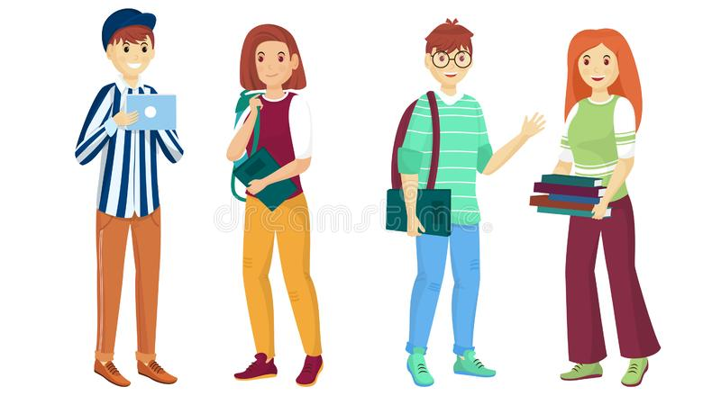 Personaje de dibujos animados joven de estudiantes en actitud permanente Puede ser utilizado para de nuevo a la escuela stock de ilustración