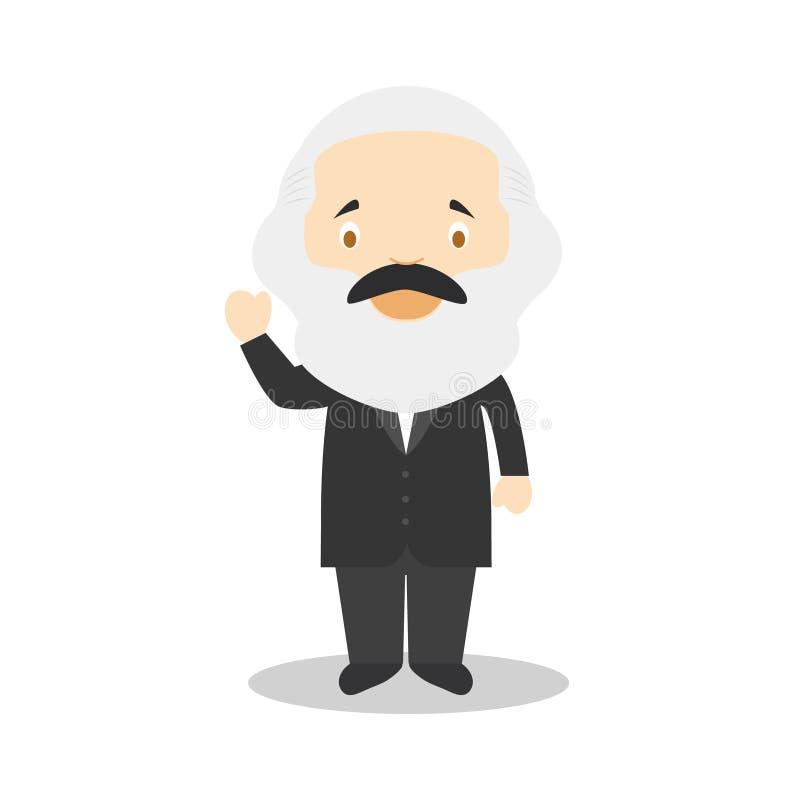 Personaje de dibujos animados de Karl Marx Ilustración del vector ilustración del vector