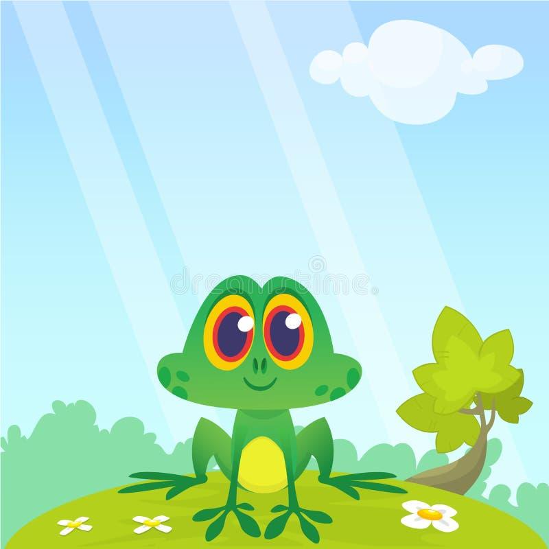 Personaje de dibujos animados de la rana que se sienta en la tierra aislada en fondo del bosque Ilustración colorida del vector libre illustration