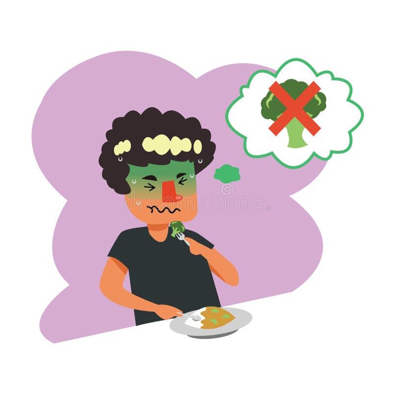 Personaje de dibujos animados de las preferencias de la comida y de la comida no deliciosa fotos de archivo libres de regalías