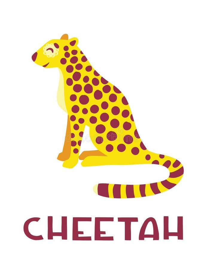 Personaje de dibujos animados lindo del guepardo ilustración del vector