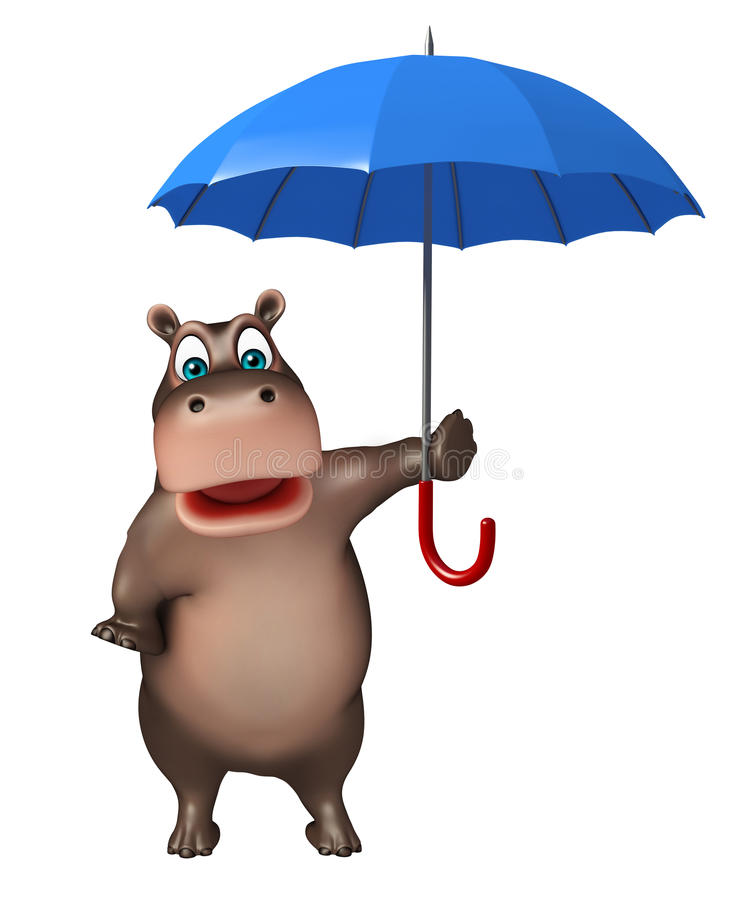 Personaje De Dibujos Animados Lindo Del Hipopótamo Con El Paraguas ...
