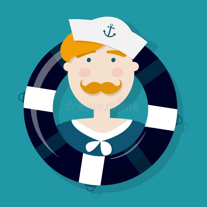 Personaje de dibujos animados lindo del marinero del jengibre en un salvavidas stock de ilustración