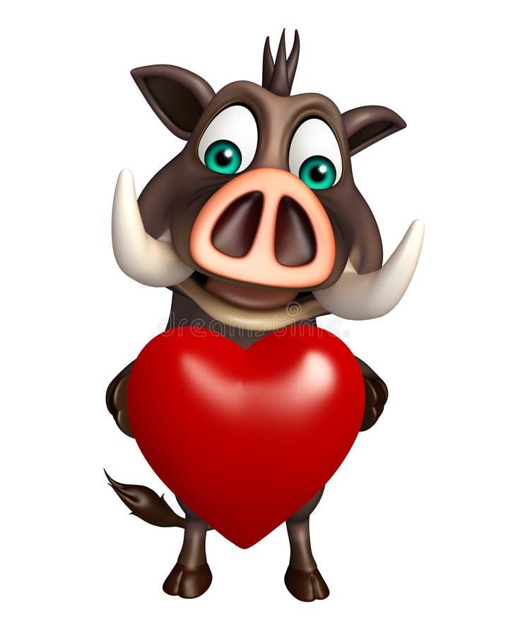 Personaje de dibujos animados lindo del verraco con el corazón libre illustration