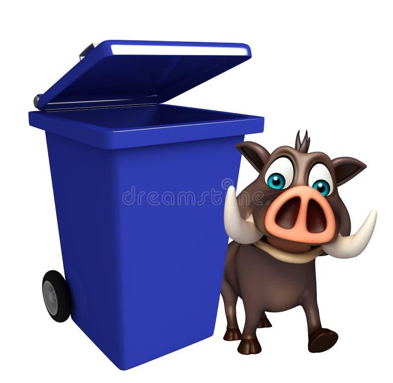 Personaje de dibujos animados lindo del verraco con el cubo de basura stock de ilustración