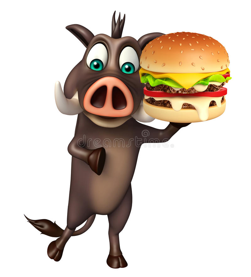 Personaje de dibujos animados lindo del verraco con la hamburguesa stock de ilustración