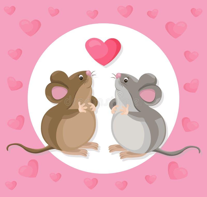 Personaje de dibujos animados lindo divertido del ratón con un baloon Ilustración del vector ilustración del vector