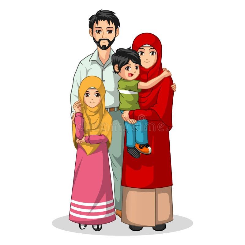 Personaje de dibujos animados musulmán de la familia ilustración del vector