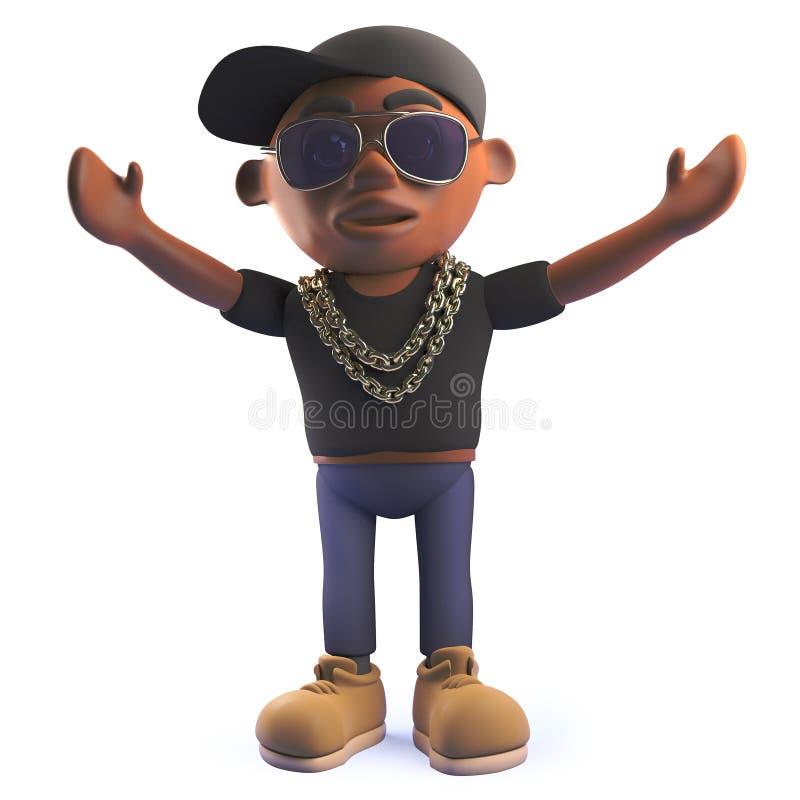 Personaje de dibujos animados negro del cantante de rap del hip-hop en 3d con sus brazos en el aire ilustración del vector