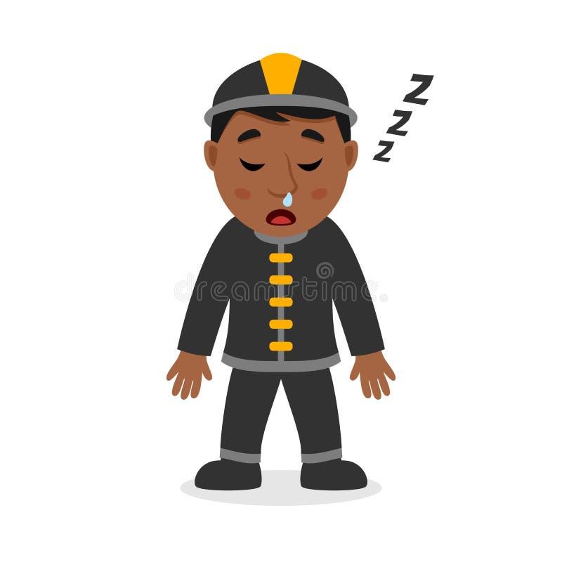 Personaje de dibujos animados negro durmiente del bombero stock de ilustración