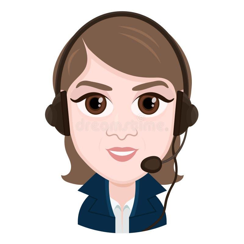 Personaje de dibujos animados, operador de centro de atención telefónica de la muchacha del retrato del dibujo del vector, emoció stock de ilustración