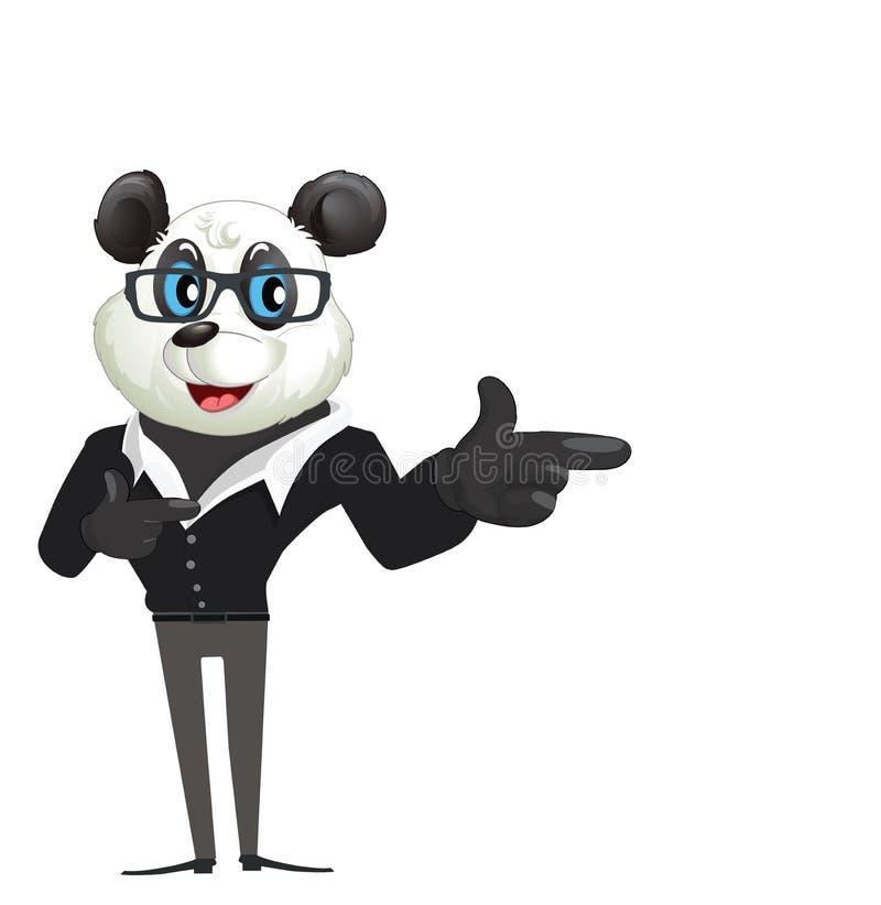 Personaje de dibujos animados Panda Pointing, mostrando stock de ilustración