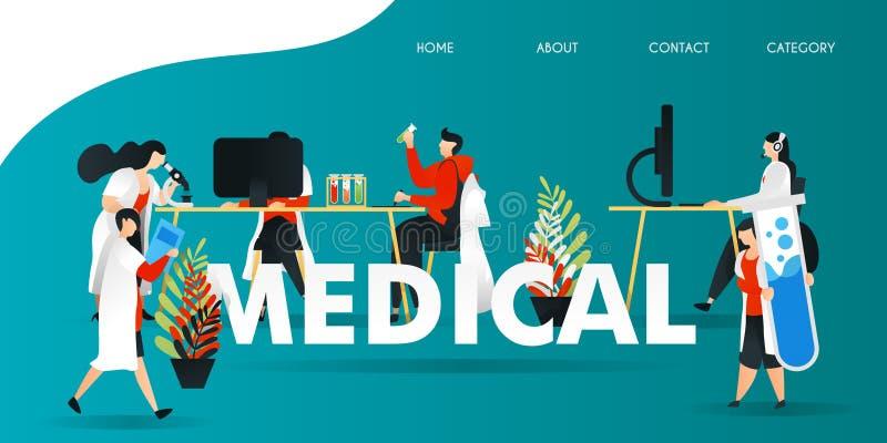 personaje de dibujos animados plano ejemplo del vector para la tecnología, ciencia, laboratorio, investigación, web investigación ilustración del vector