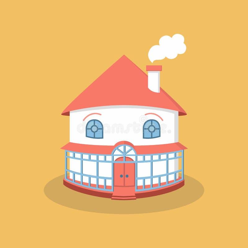 Personaje de dibujos animados plano de la casa Icono plano del estilo, ejemplo lindo del vector de la casa blanca con las ventana libre illustration