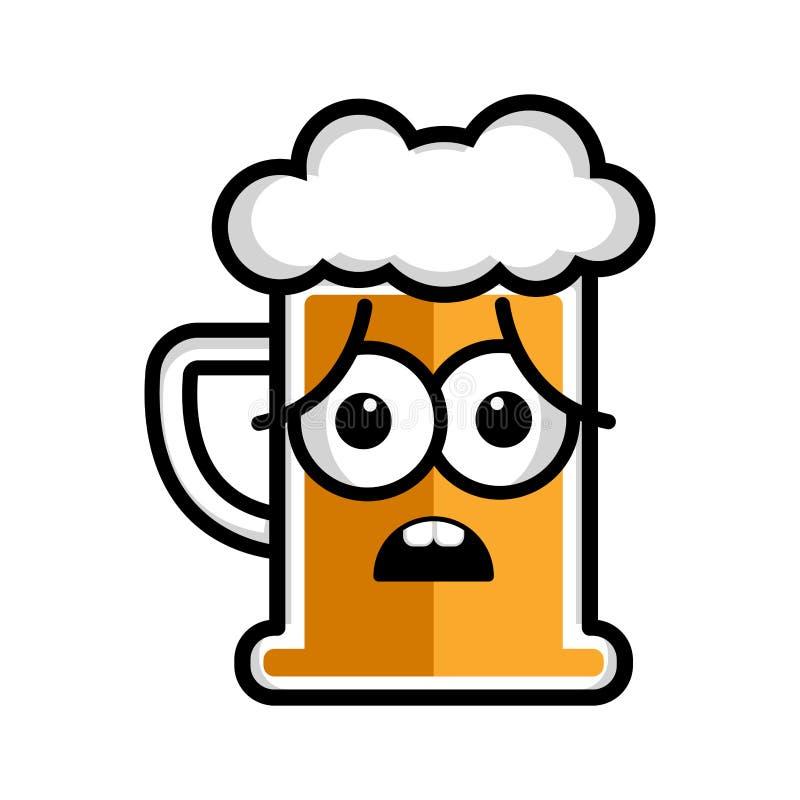 Personaje de dibujos animados preocupante de la cerveza stock de ilustración