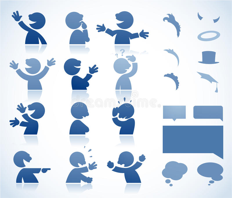 Personaje de dibujos animados que habla stock de ilustración
