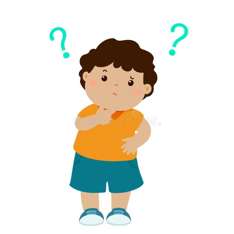 Personaje de dibujos animados que se pregunta de la piel marrón del niño pequeño libre illustration