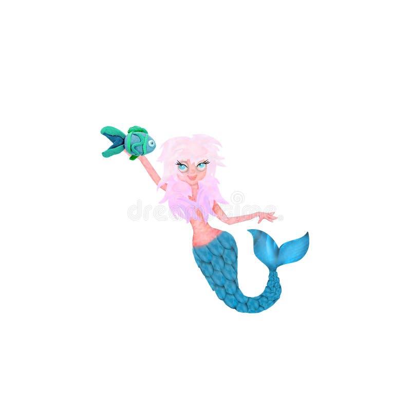 personaje de dibujos animados rendido 3d de la sirena aislado en blanco ilustración del vector