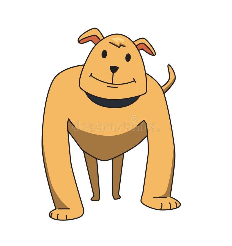 Personaje de dibujos animados sonriente divertido del perro Situación fuerte del perro guardián Ejemplo plano del vector Aislado  stock de ilustración