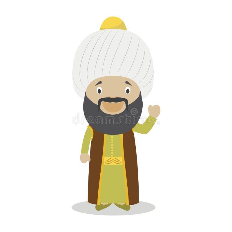 Personaje de dibujos animados de Sultan Othman I Ilustración del vector ilustración del vector