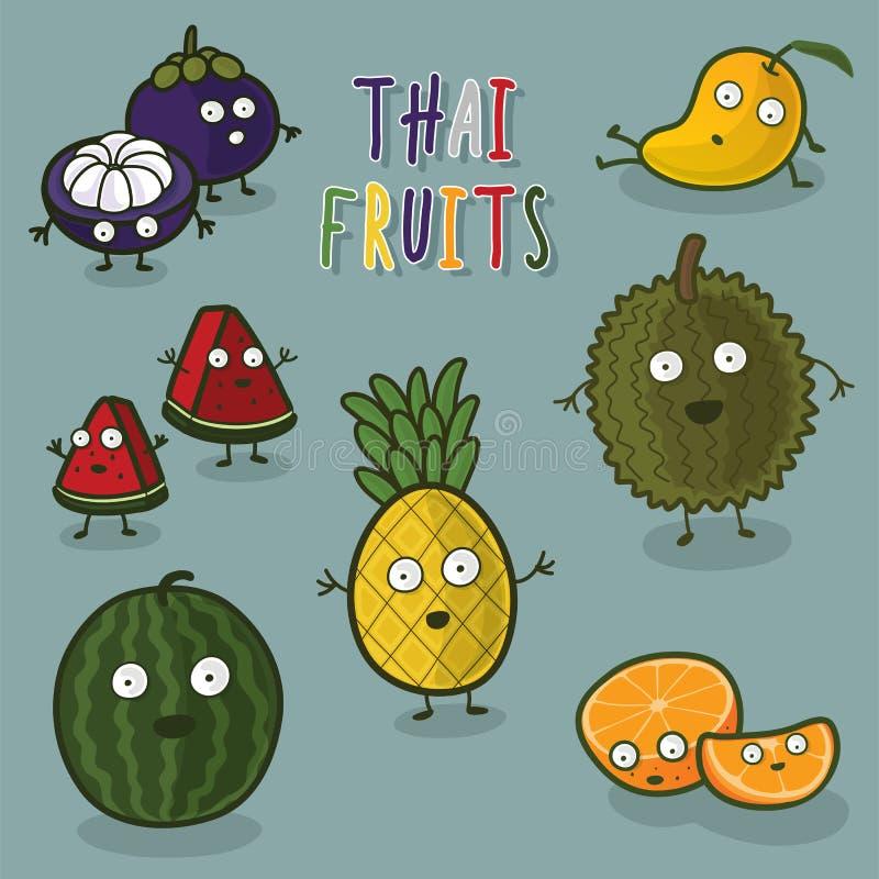 Personaje de dibujos animados tailandés de las frutas imagenes de archivo