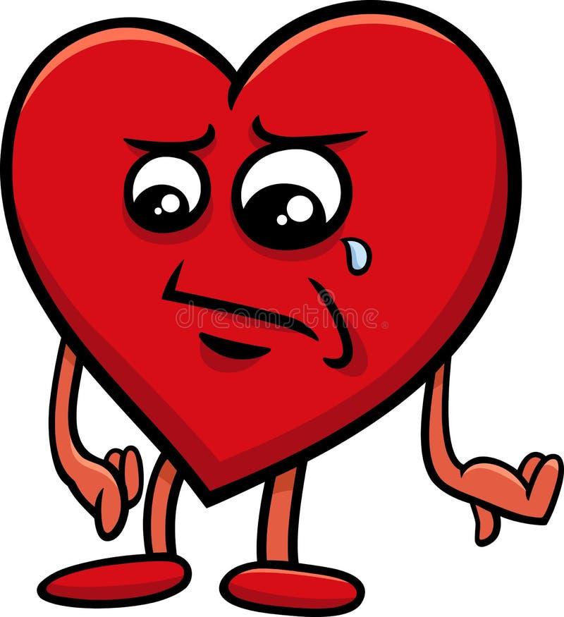 Personaje de dibujos animados triste del corazón libre illustration