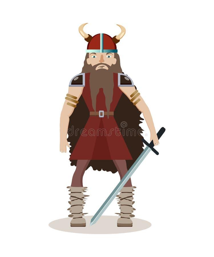 Personaje De Dibujos Animados De Viking Un Guerrero Muscular, De ...