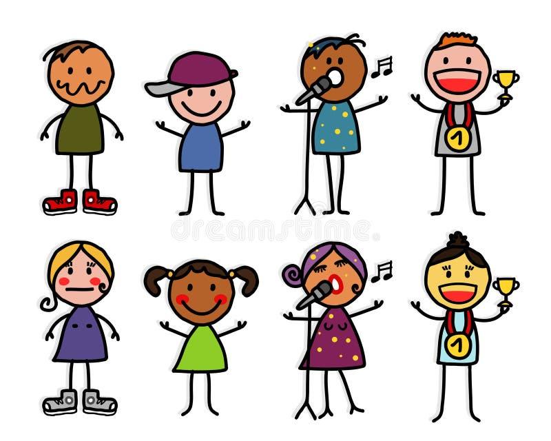 Personajes de dibujos animados 2 ilustración del vector