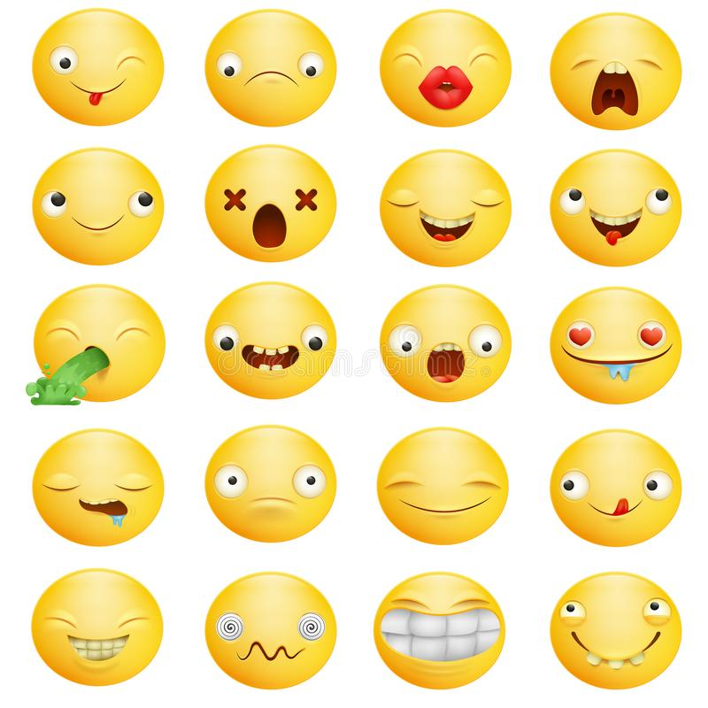 Personajes de dibujos animados amarillos del emoticon sonriente en sistema grande de diversas emociones libre illustration