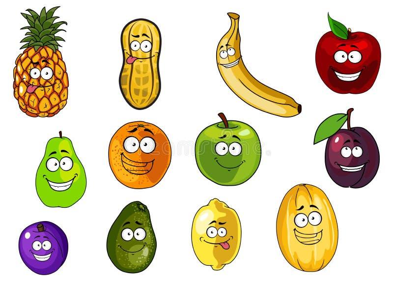 Personajes De Dibujos Animados Coloridos De Las Frutas Y