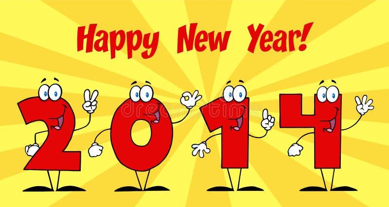 2014 personajes de dibujos animados de los números del Año Nuevo ilustración del vector