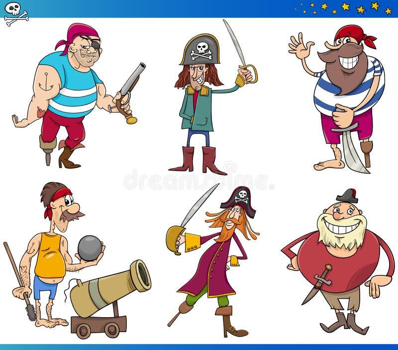 Personajes de dibujos animados de los piratas fijados ilustración del vector