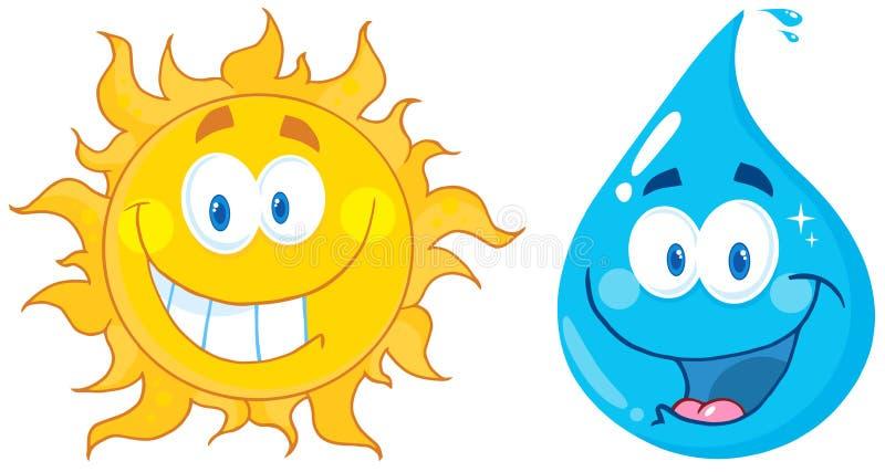 Personajes de dibujos animados de Sun y del agua stock de ilustración