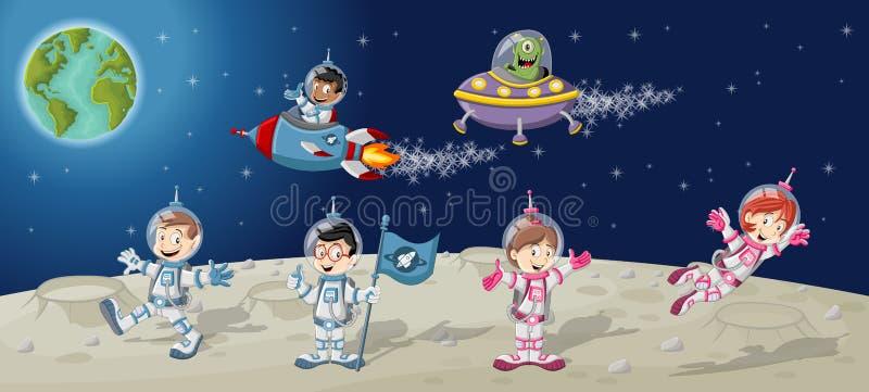 Personajes de dibujos animados del astronauta en la luna ilustración del vector
