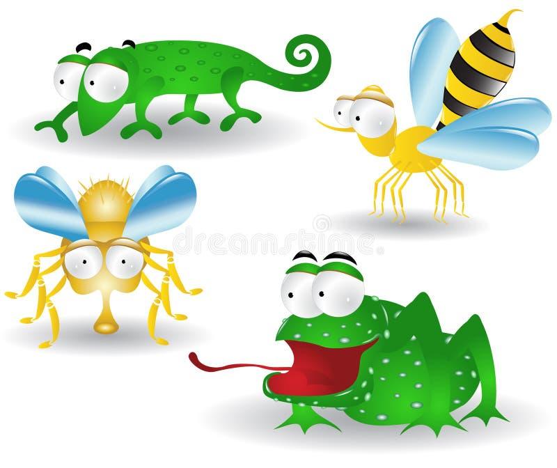 Personajes de dibujos animados del camaleón de la mosca de abeja de la rana stock de ilustración