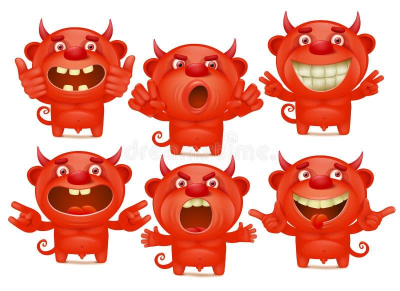 Personajes de dibujos animados del diablo rojo en diverso sistema del emoji de las emociones ilustración del vector