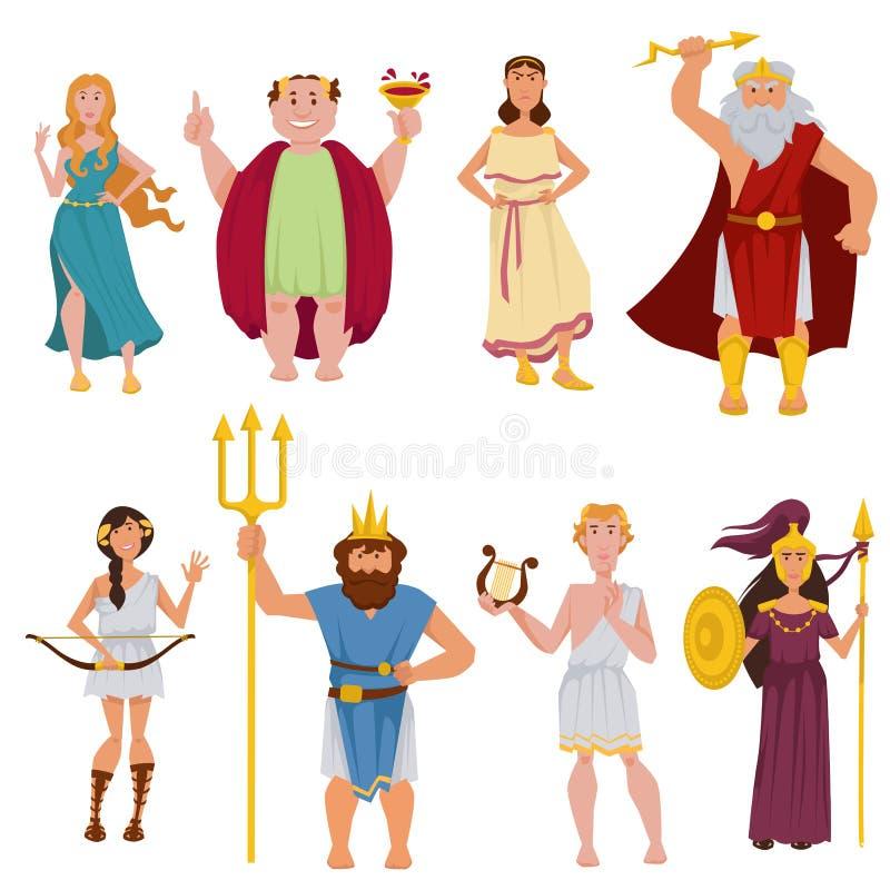 Personajes de dibujos animados del vector de dioses del griego clásico stock de ilustración