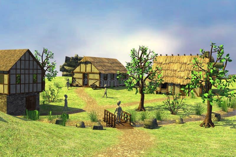 Personajes de dibujos animados en village10 medieval stock de ilustración