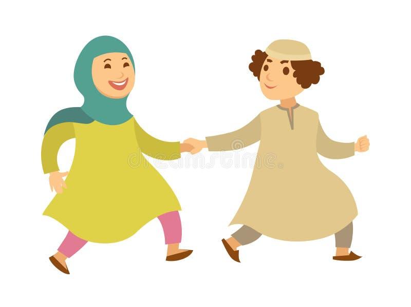 Personajes de dibujos animados felices musulmanes de Arabia Saudita del vector de los pares que caminan o de los niños ilustración del vector