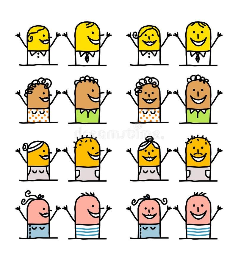 Personajes de dibujos animados - gente feliz stock de ilustración