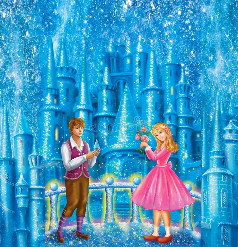 Personajes de dibujos animados Gerda y Kai para la reina de la nieve del cuento de hadas escrita por Hans Christian Andersen ilustración del vector