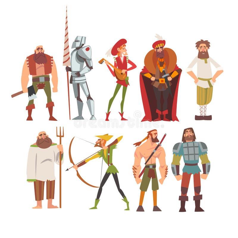 Personajes de dibujos animados históricos medievales en los trajes tradicionales sistema, campesino, guerrero, noble, Archer, mús libre illustration
