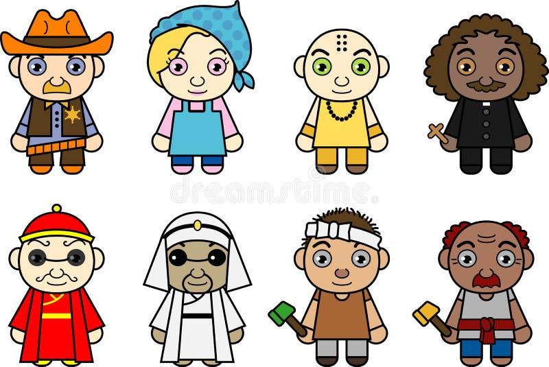 Personajes de dibujos animados internacionales ilustración del vector