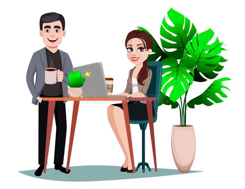 Personajes de dibujos animados de la empresaria y del hombre de negocios ilustración del vector