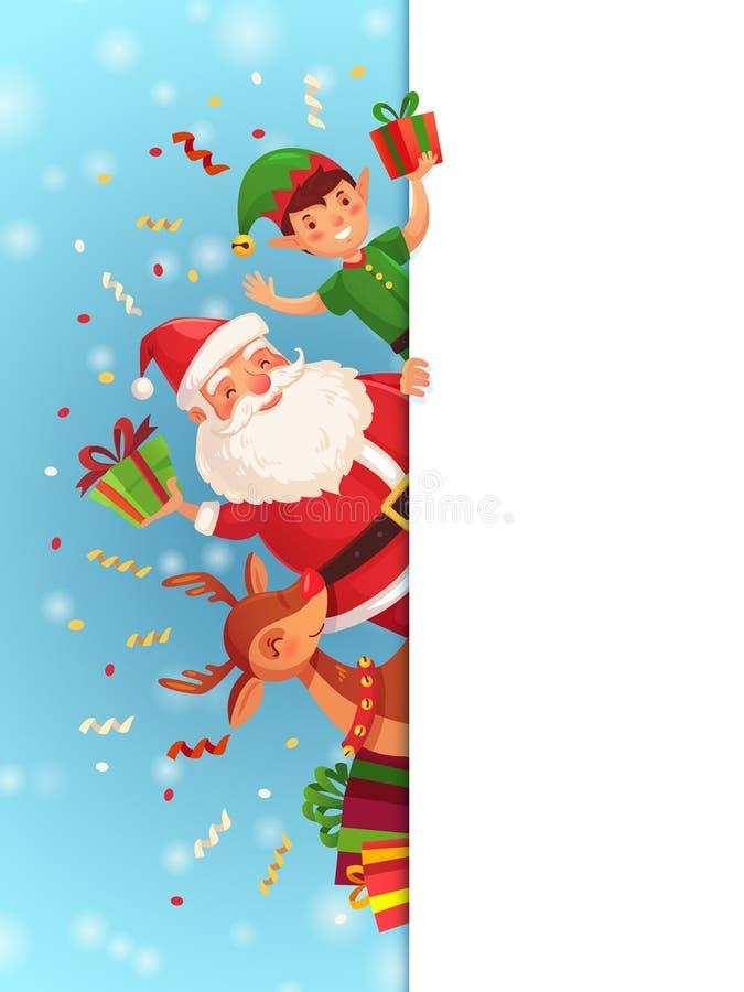 Personajes de dibujos animados de la Navidad Santa Claus, carácter del duende de Navidad y reno con vector rojo del letrero de la ilustración del vector
