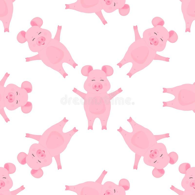 Personajes de dibujos animados lindos del cerdo guarro Modelo incons?til animal divertido ilustración del vector