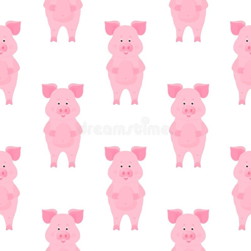 Personajes de dibujos animados lindos del cerdo guarro Modelo incons?til animal divertido stock de ilustración