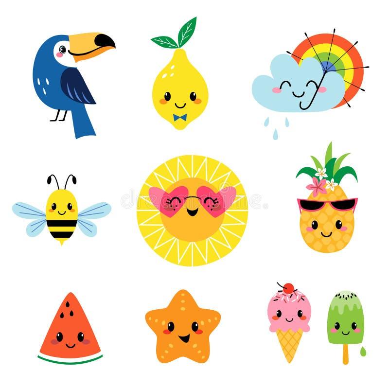 Personajes de dibujos animados lindos del verano fijados stock de ilustración