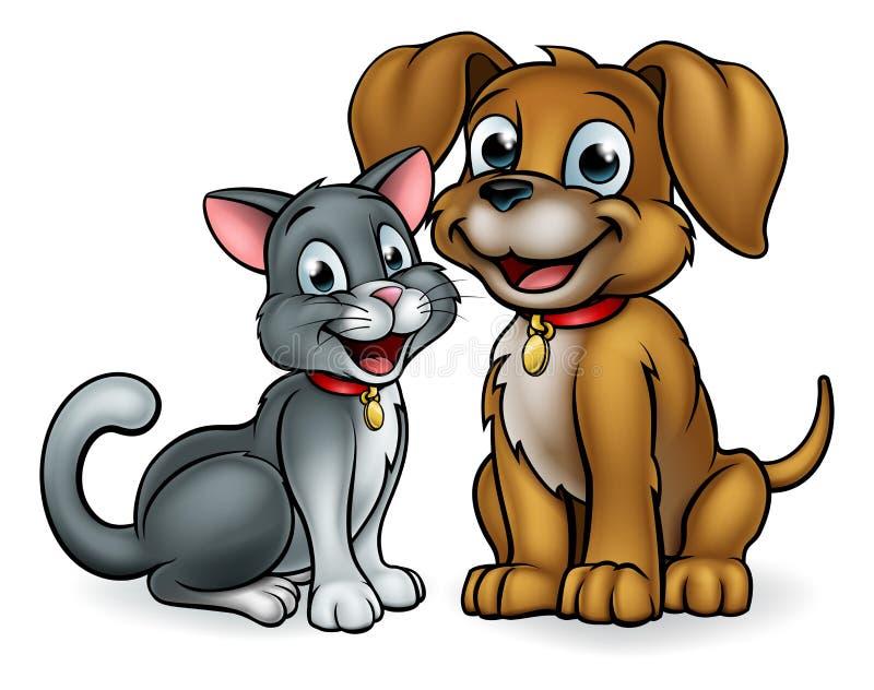 Personajes de dibujos animados de los animales domésticos del gato y del perro stock de ilustración