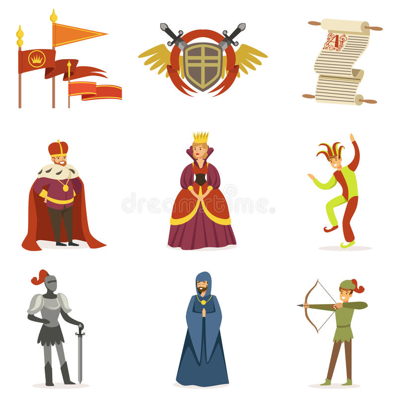 Personajes de dibujos animados medievales y colección europea de las cualidades del período histórico de las Edades Medias de ico stock de ilustración
